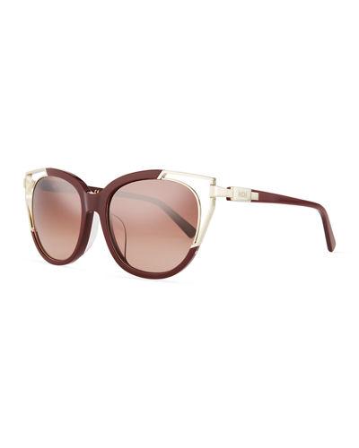 Acetate & Metal Cutout Cat-Eye Sunglasses