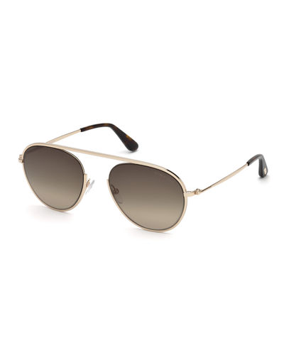 09d29680d213 Quick Look. TOM FORD · Keith Round Brow-Bar Metal Sunglasses