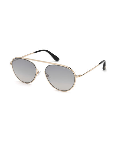 Keith Round Brow-Bar Metal Sunglasses