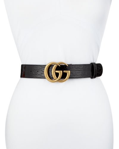Crocodile Belt with GG Buckle