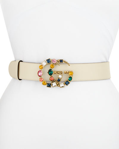 Leather Belt w/ Crystal GG Buckle