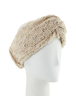 Gg Embroidered Cotton-Blend Headband, Ivory Gg Macramé