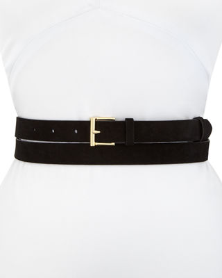 Double-Wrap Suede Leather Belt
