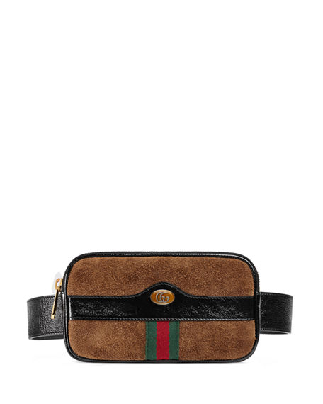 brown Ophidia web suede belt bag Gucci 62MMKq