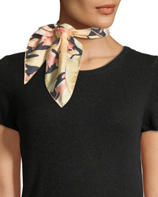 JANE CARR Camouflage Silk Twill Neckerchief in Off White