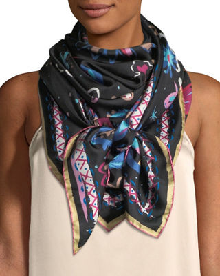 Jane Carr The Fauve Silk Twill Square Scarf