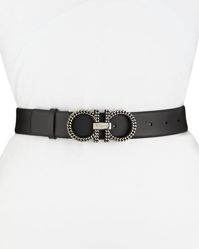 Chain Double-Gancini Leather Belt
