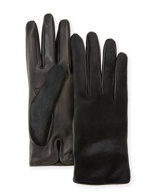 Leather & Calf Hair Gloves in Black