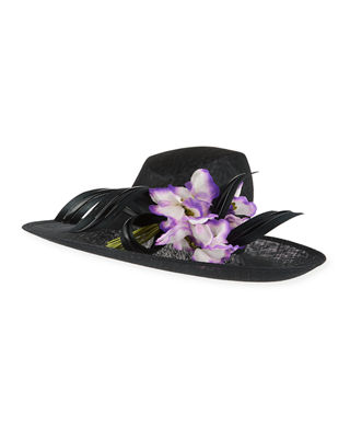 Philip Treacy Straw Hat w/ Ribbon & Rosette