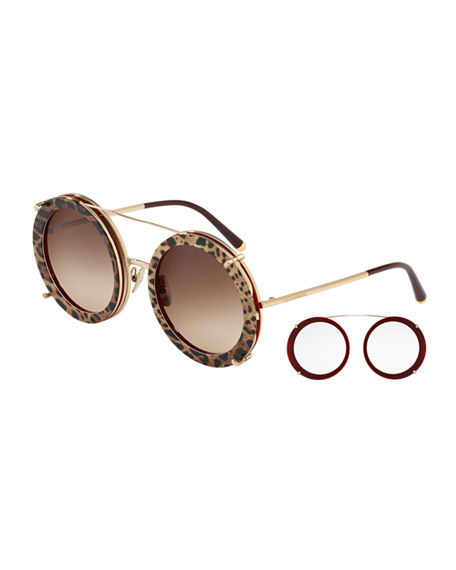 05f1ac34e10 Dolce   Gabbana Round Clip-On Front Metal Sunglasses In Bordeaux Leo Brown