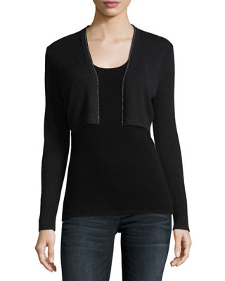 Metallic Chain-Trim Cashmere Shrug