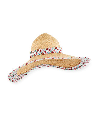 Gigi Burris Honeymoon Raffia Sun Hat w/ Contrast
