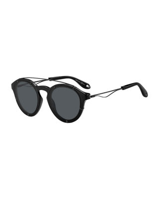 54Mm Round Polarized Sunglasses - Black, Black/Gray