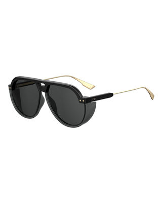 DiorClub3 Round Sunglasses w/ Side Blinders