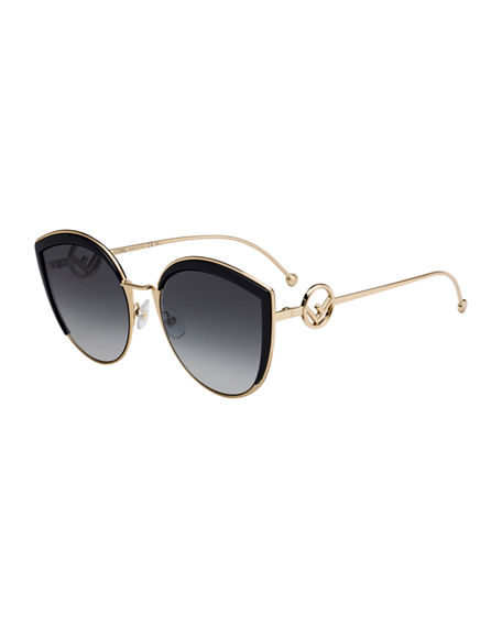 Image 1 of 2: Fendi Cat Eye Metal Gradient Sunglasses