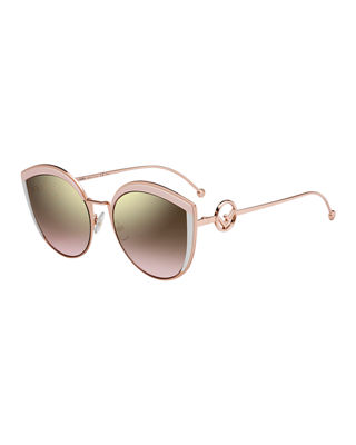 FENDI 58Mm Metal Butterfly Sunglasses - Pink