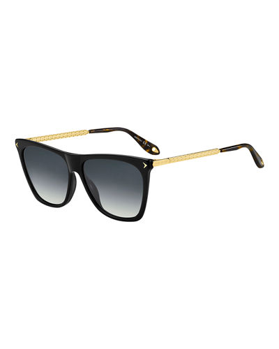 Square Acetate & Metal Gradient Sunglasses