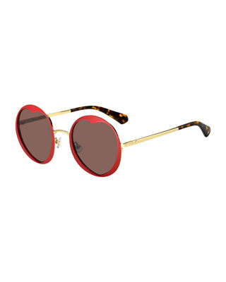 Rosaria 53Mm Heart Cutout Lens Sunglasses - Matte Red/ Havana/ Burgundy