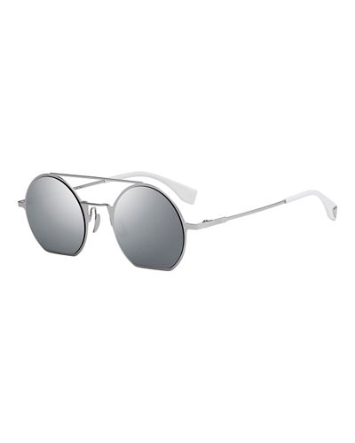 Straight-Brow Round Metal Sunglasses