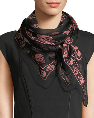 Image 1 of 2: Skull-Pattern Scarf