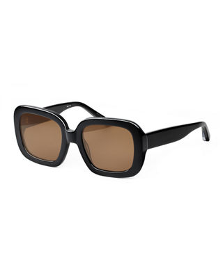 Haley 54Mm Square Sunglasses - Black/ Brown