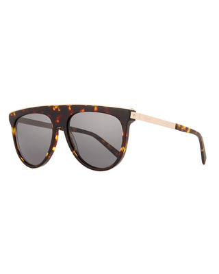 Image 1 of 3: Acetate & Metal Flattop Aviator Sunglasses