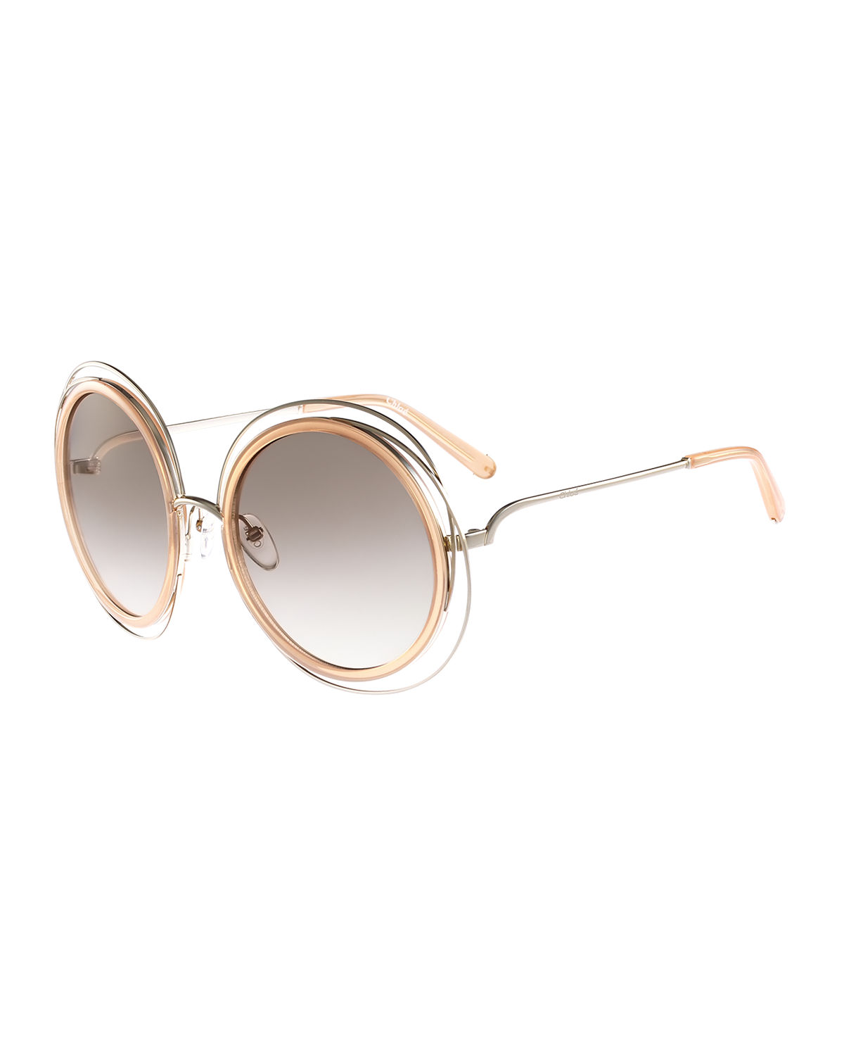 04ee7fd8542 Chloe Carlina Trimmed Round Sunglasses