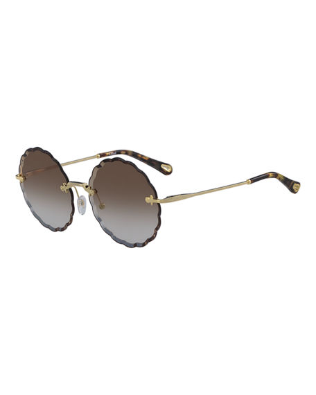 Chloe Rosie Rimless Scalloped Sunglasses