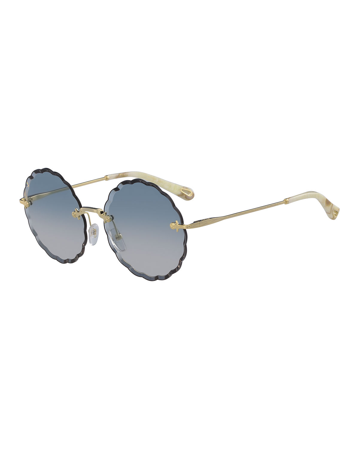 bed83a454349 Chloe Rosie Rimless Scalloped Sunglasses