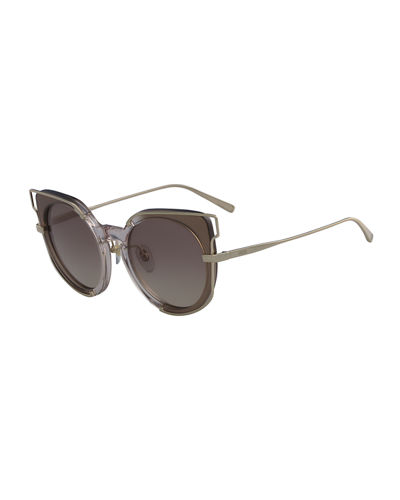 Cat-Eye Zyl & Metal Sunglasses