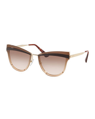 Prada Cat-Eye Propionate Mirrored Sunglasses