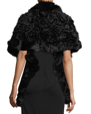 Image 3 of 3: Rex Rose Fur & Chiffon Stole