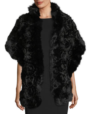 Image 1 of 3: Rex Rose Fur & Chiffon Stole