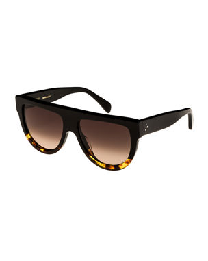d76123e093b Celine Flattop Two-Tone Shield Sunglasses
