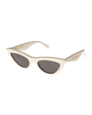 CELINE Exaggerated International-Fit Cat-Eye Sunglasses in Ivory