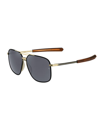 Metal & Acetate Rounded Aviator-Style Sunglasses