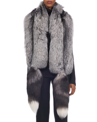Silver Fox Stole w/ Tails