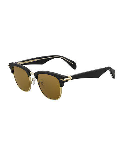 Semi-Rimless Acetate & Metal Round Sunglasses