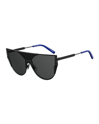 Grated Metal Monochromatic Shield Sunglasses