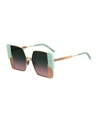 OXYDO Square Grated & Perforated Metal Sunglasses in Bronze