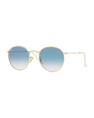 Ray-Ban Unisex Gradient Round Sunglasses, 53Mm, Blue Pattern