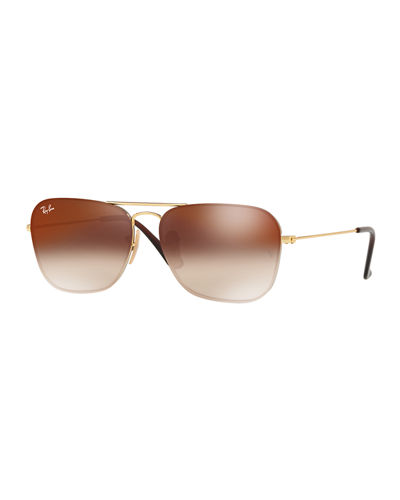 Rounded Square Gradient Metal Sunglasses