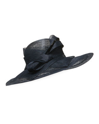 MARZI Large Brim Side-Bow Hat in Navy
