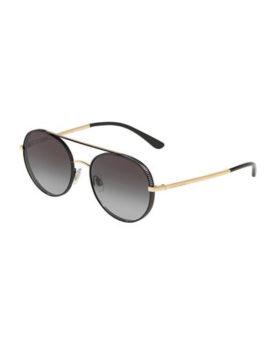 Round Metal Grosgrain Sunglasses