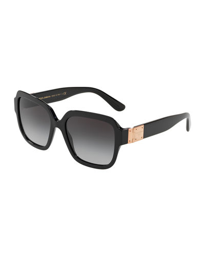 Square Gradient Acetate Sunglasses w/ Logo Plaque