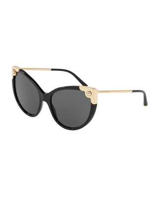 Image 1 of 2: Acetate & Metal Cat-Eye Sunglasses