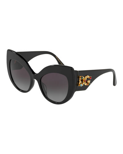 Acetate Cat-Eye Sunglasses w/ Crystal & Spike Logo