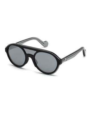 52Mm Shield Sunglasses - Shiny Black / Smoke Mirror