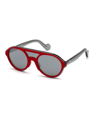 52Mm Shield Sunglasses - Shiny Red/ Smoke Mirror