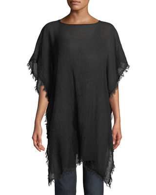 Eileen Fisher Lightweight Organic Cotton Fringed Poncho and